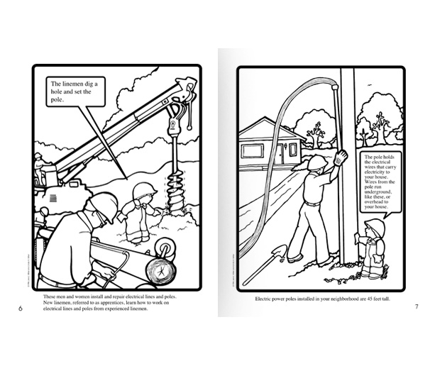 Coloring Page With The Electrician: Coloring Books